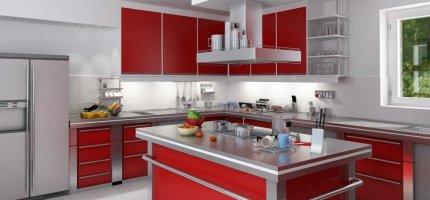 Красная кухня – как подобрать краски для стен?