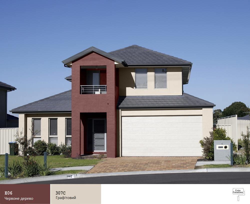 Цвет фасада дома с коричневой крышей и окнами фото